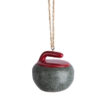 Curling Rock Resin Ornament