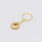 Gold Plated Curling Rock Keychain