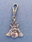 Pewter Curling Rock, Broom & Thistle Zipper Pull