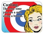 Metal Curling Men Sign