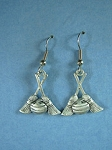 Pewter Curling Rock and Broom Earrings
