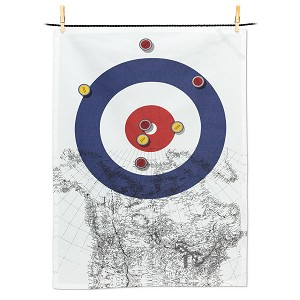 Curling House and Canada Map Tea Towel