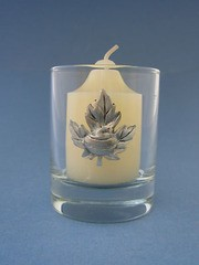 Maple Leaf with Rock Glass Votive