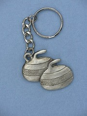 Pewter Curling Stone Keychain