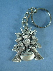 Curling Rocks, Thistle and Broom Keychain