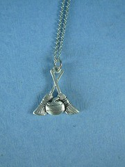 Pewter Curling Rock and Broom Pendant