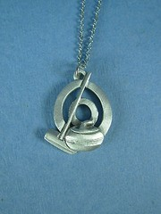 Pewter Curling Rock and Broom in circle Pendant