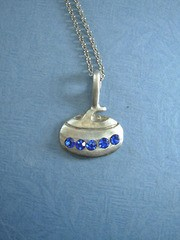 Pewter Curling Rock with Rhinestone Pendant